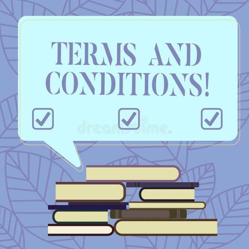 Sinal do texto que mostra termos e condições Detalhe conceptual da foto as regras que se aplicam para carregar um determinado con ilustração royalty free