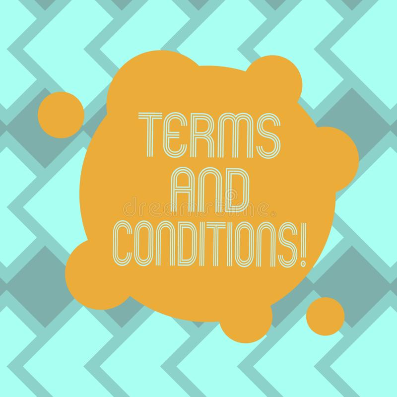 Sinal do texto que mostra termos e condições Detalhe conceptual da foto as regras que se aplicam para carregar uma determinada pl ilustração stock