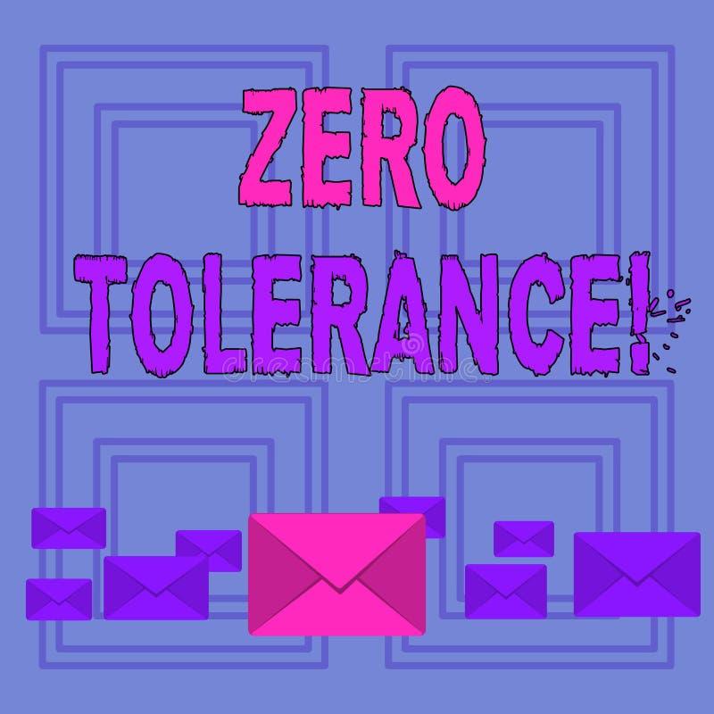 Sinal do texto que mostra a tolerância zero A recusa conceptual da foto aceita o comportamento antissocial tipicamente pela cor  ilustração stock