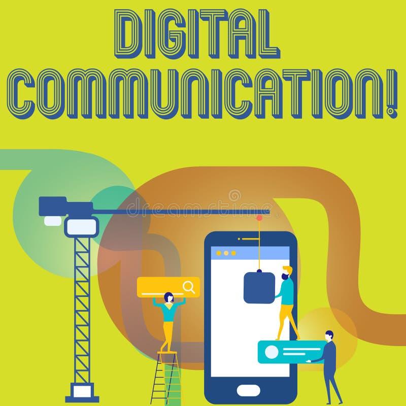 Sinal do texto que mostra uma comunicação de Digitas Troca conceptual da foto dos dados que transmitem em um pessoal digital do ilustração stock