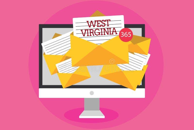 Sinal do texto que mostra West Virginia Recepção histórica do computador da viagem conceptual do turismo do curso do estado do Es imagens de stock royalty free