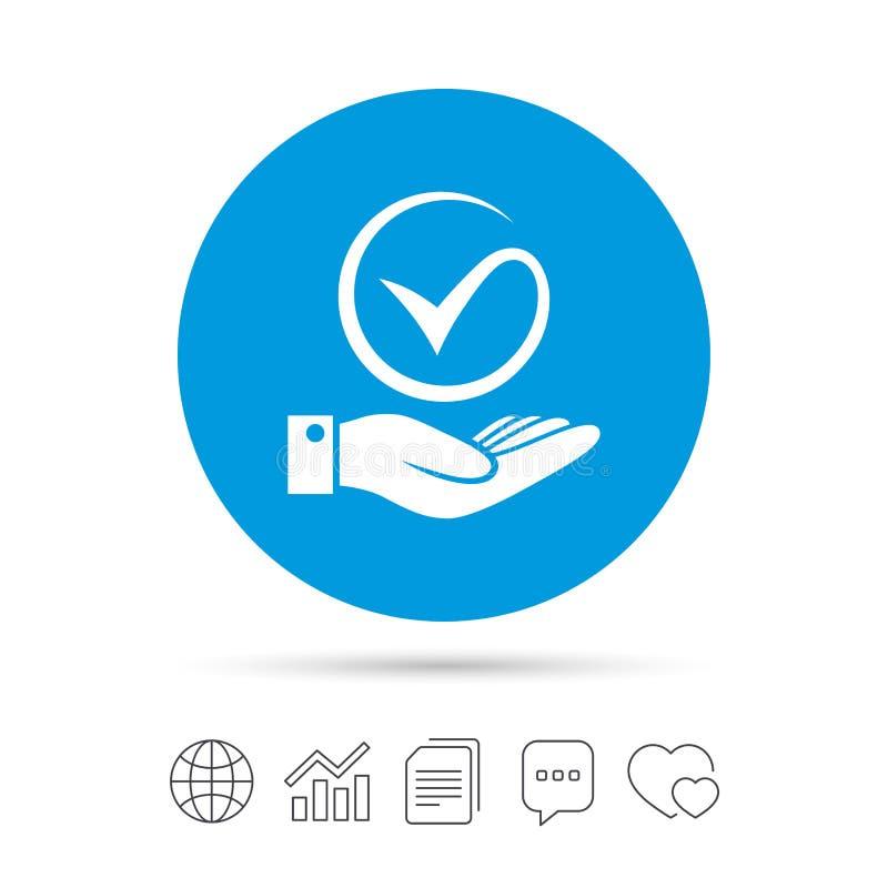 Sinal do tiquetaque e da mão A palma guarda o símbolo da marca de verificação ilustração do vetor