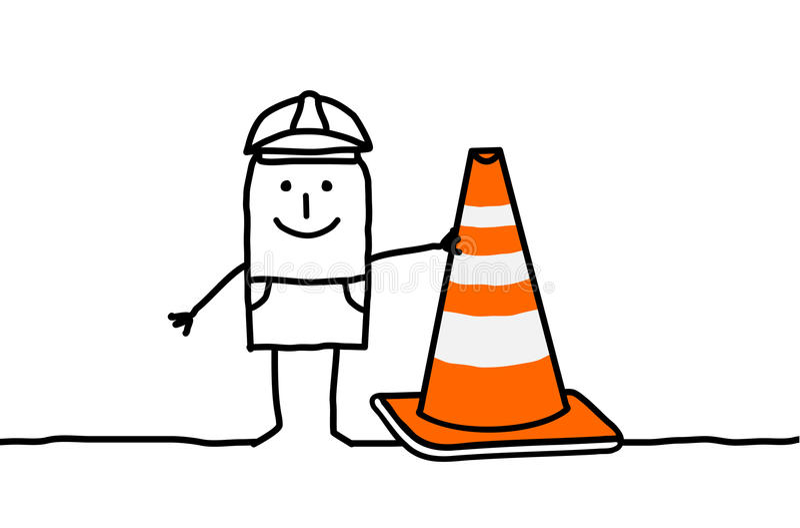 Sinal do trabalhador & da construção ilustração do vetor