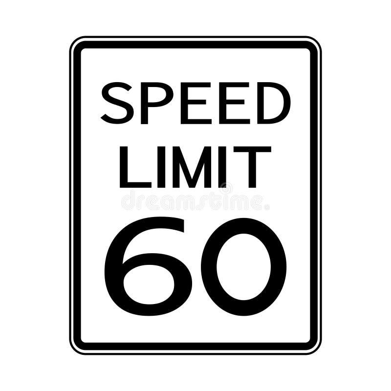 Sinal do transporte do tráfego rodoviário dos EUA: Limite de velocidade 60 no fundo branco, ilustração do vetor ilustração do vetor
