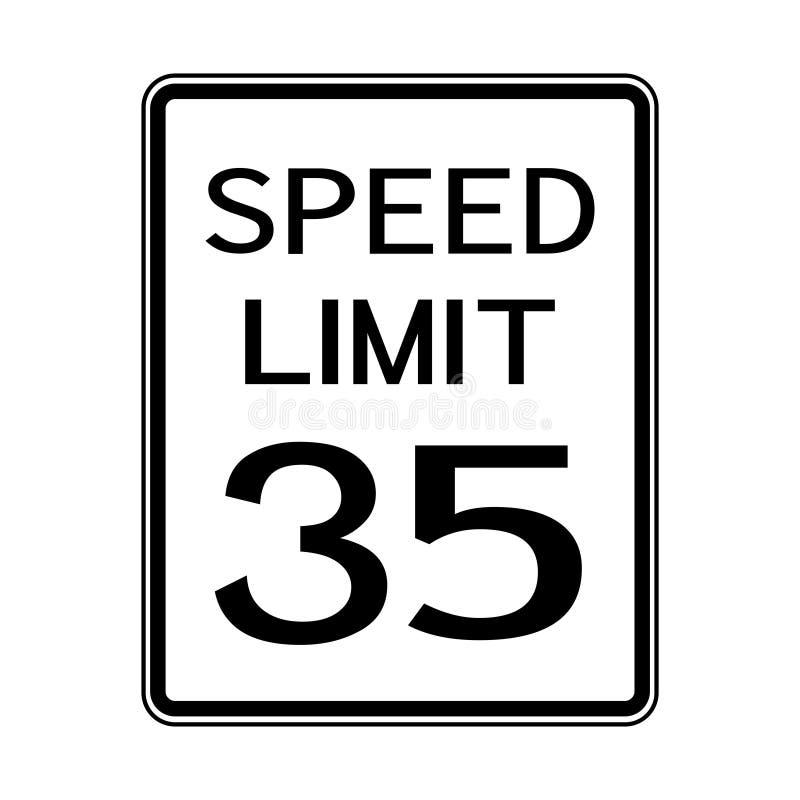 Sinal do transporte do tráfego rodoviário dos EUA: Limite de velocidade 35 no fundo branco, ilustração do vetor ilustração royalty free