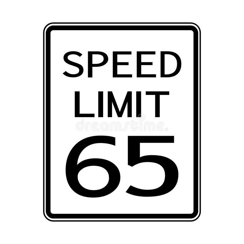 Sinal do transporte do tráfego rodoviário dos EUA: Limite de velocidade 65 no fundo branco, ilustração do vetor ilustração do vetor