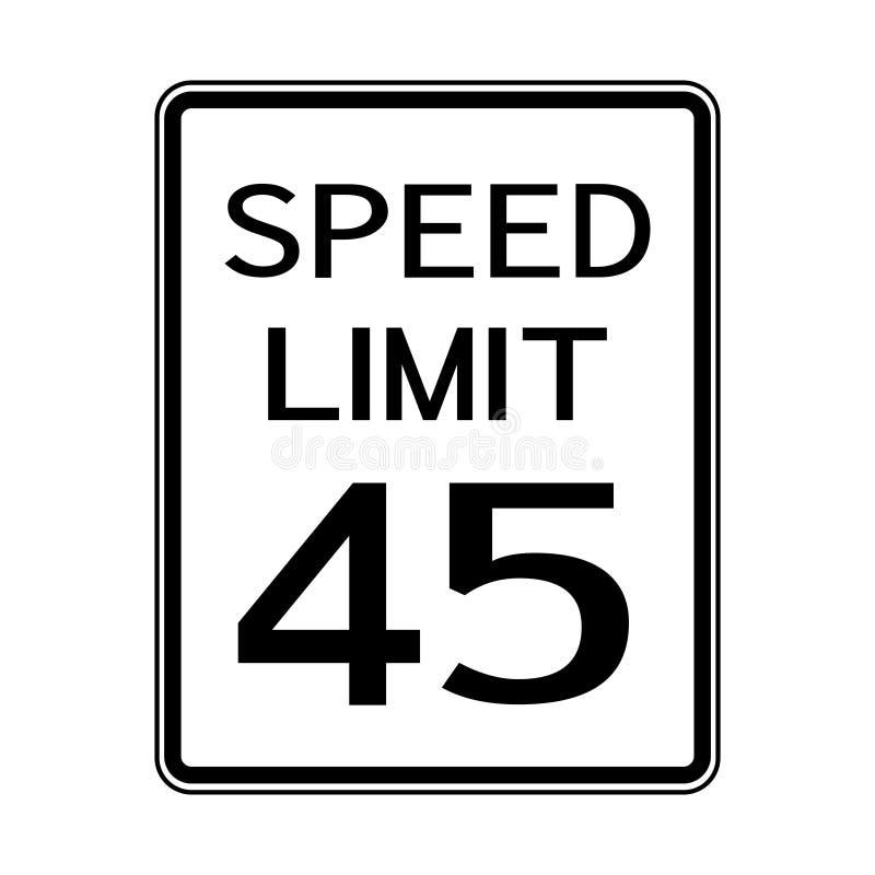 Sinal do transporte do tráfego rodoviário dos EUA: Limite de velocidade 45 no fundo branco, ilustração do vetor ilustração royalty free