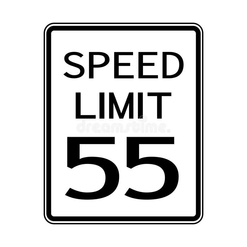 Sinal do transporte do tráfego rodoviário dos EUA: Limite de velocidade 55 no fundo branco, ilustração do vetor ilustração stock
