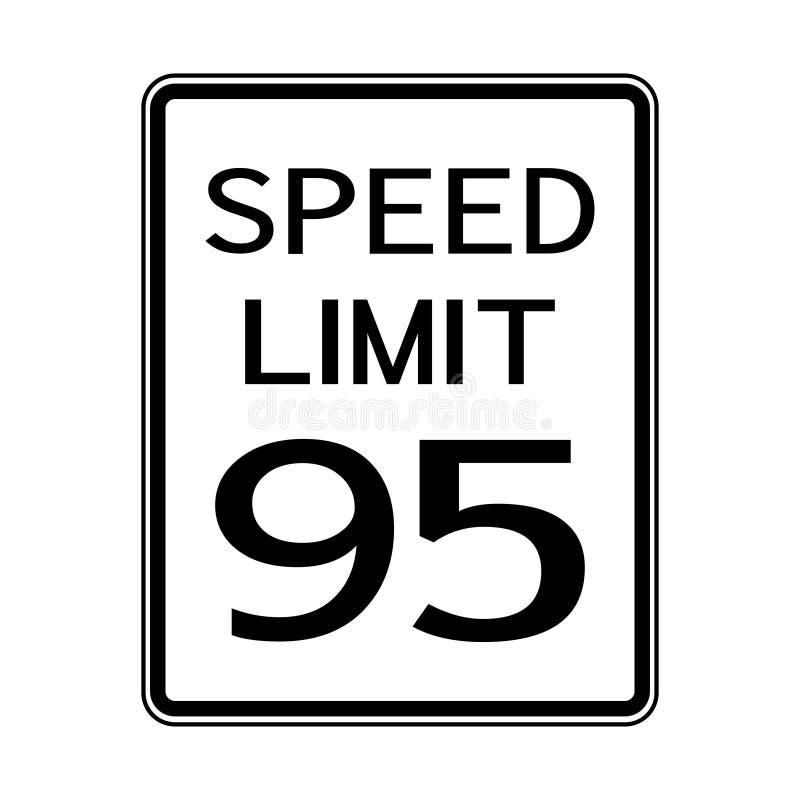 Sinal do transporte do tráfego rodoviário dos EUA: Limite de velocidade 95 no fundo branco, ilustração do vetor ilustração stock