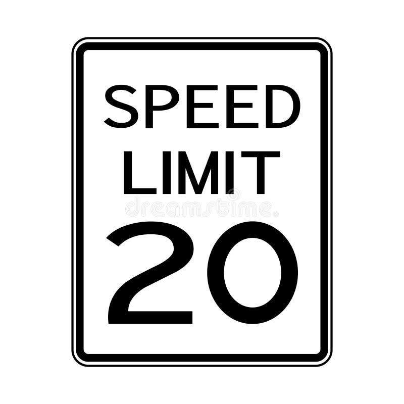 Sinal do transporte do tráfego rodoviário dos EUA: Limite de velocidade 20 no fundo branco, ilustração do vetor ilustração do vetor