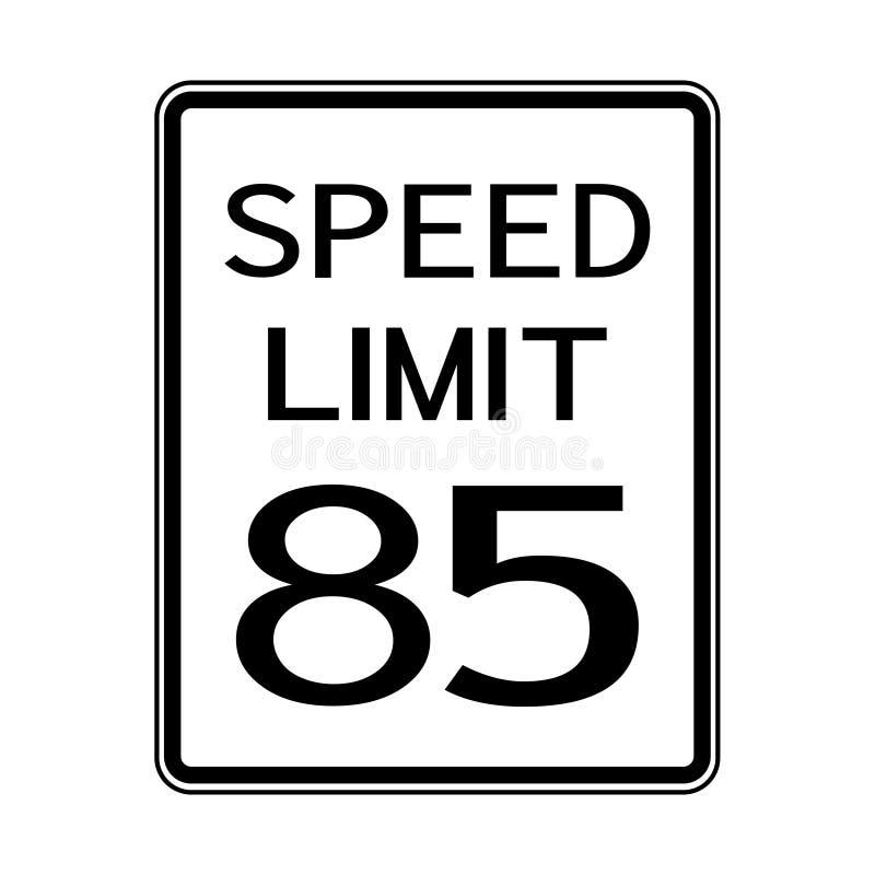 Sinal do transporte do tráfego rodoviário dos EUA: Limite de velocidade 85 no fundo branco, ilustração do vetor ilustração royalty free
