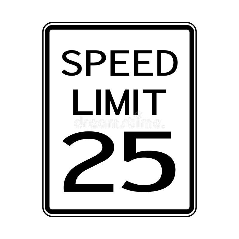 Sinal do transporte do tráfego rodoviário dos EUA: Limite de velocidade 25 no fundo branco, ilustração do vetor ilustração stock