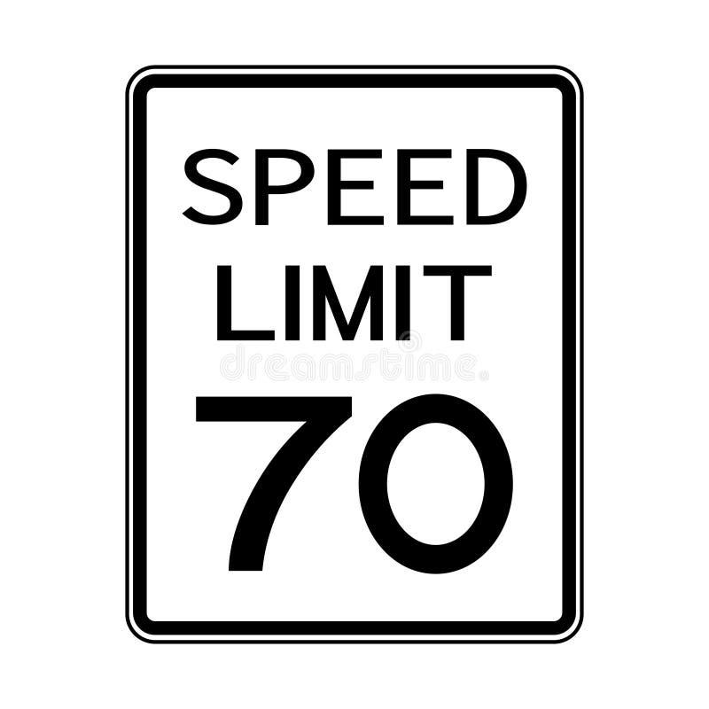 Sinal do transporte do tráfego rodoviário dos EUA: Limite de velocidade 70 no fundo branco, ilustração do vetor ilustração do vetor