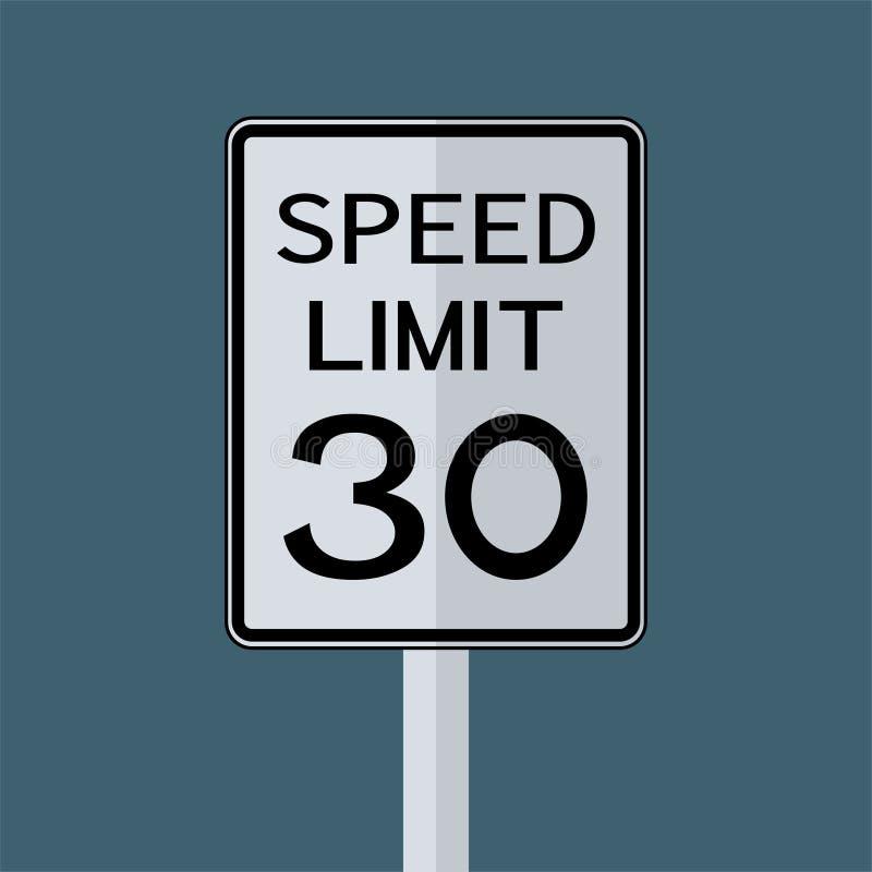 Sinal do transporte do tráfego rodoviário dos EUA: Limite de velocidade 30 no fundo branco, ilustração do vetor ilustração royalty free