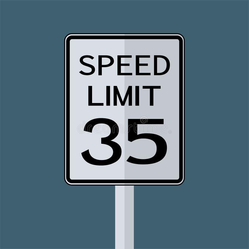 Sinal do transporte do tráfego rodoviário dos EUA: Limite de velocidade 35 no fundo branco, ilustração do vetor ilustração do vetor