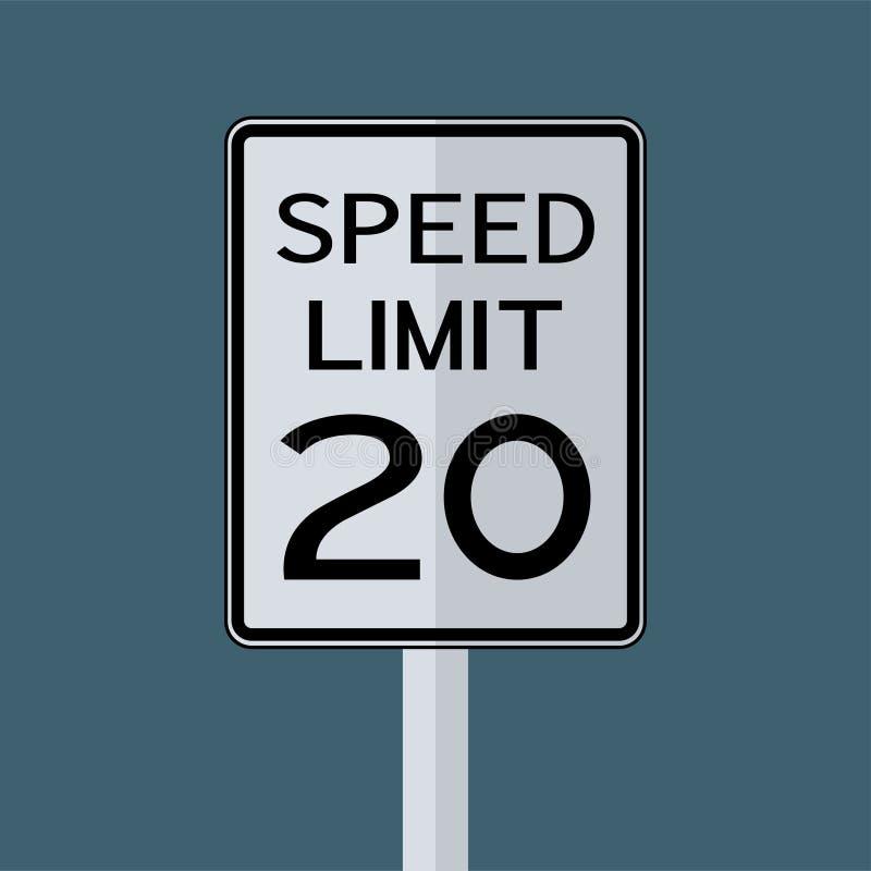 Sinal do transporte do tráfego rodoviário dos EUA: Limite de velocidade 20 no fundo branco, ilustração do vetor ilustração royalty free