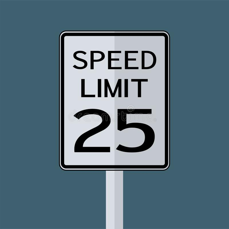 Sinal do transporte do tráfego rodoviário dos EUA: Limite de velocidade 25 no fundo branco, ilustração do vetor ilustração royalty free