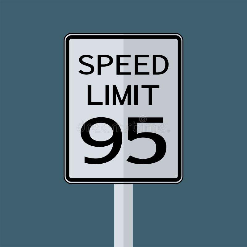 Sinal do transporte do tráfego rodoviário dos EUA: Limite de velocidade 95 no fundo branco, ilustração do vetor ilustração royalty free