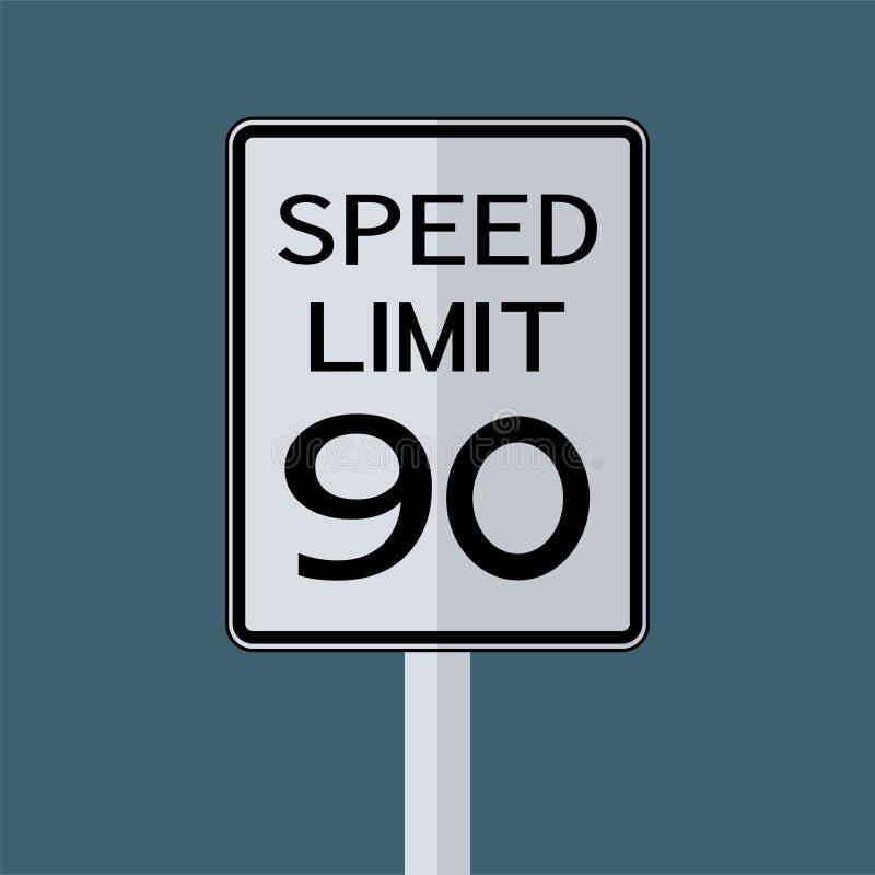 Sinal do transporte do tráfego rodoviário dos EUA: Limite de velocidade 90 no fundo branco, ilustração do vetor ilustração do vetor