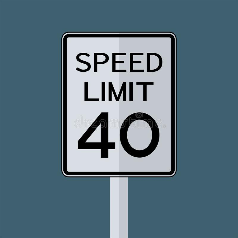 Sinal do transporte do tráfego rodoviário dos EUA: Limite de velocidade 40 no fundo branco, ilustração do vetor ilustração stock