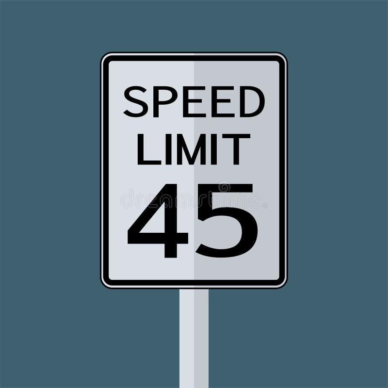 Sinal do transporte do tráfego rodoviário dos EUA: Limite de velocidade 45 no fundo branco, ilustração do vetor ilustração do vetor