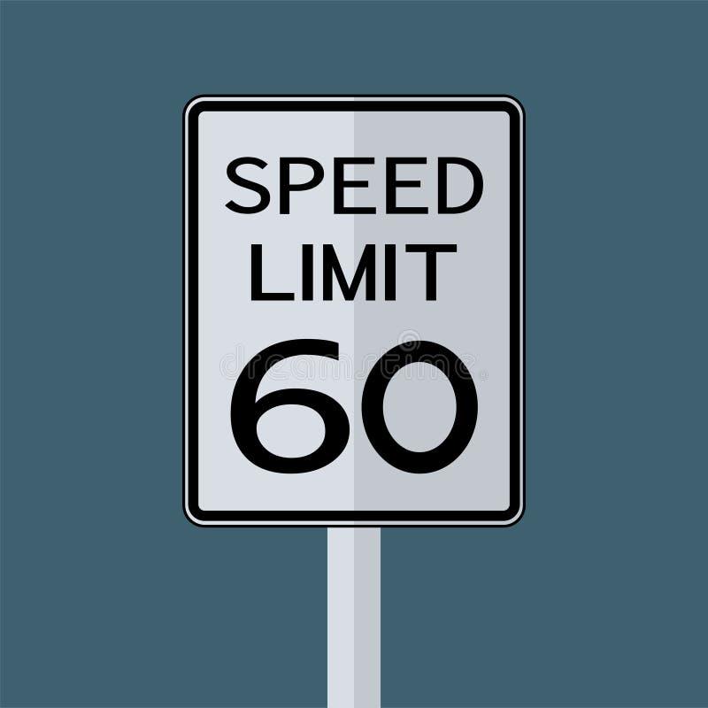 Sinal do transporte do tráfego rodoviário dos EUA: Limite de velocidade 60 no fundo branco, ilustração do vetor ilustração stock
