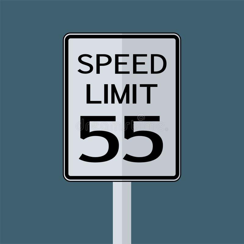 Sinal do transporte do tráfego rodoviário dos EUA: Limite de velocidade 55 no fundo branco, ilustração do vetor ilustração do vetor