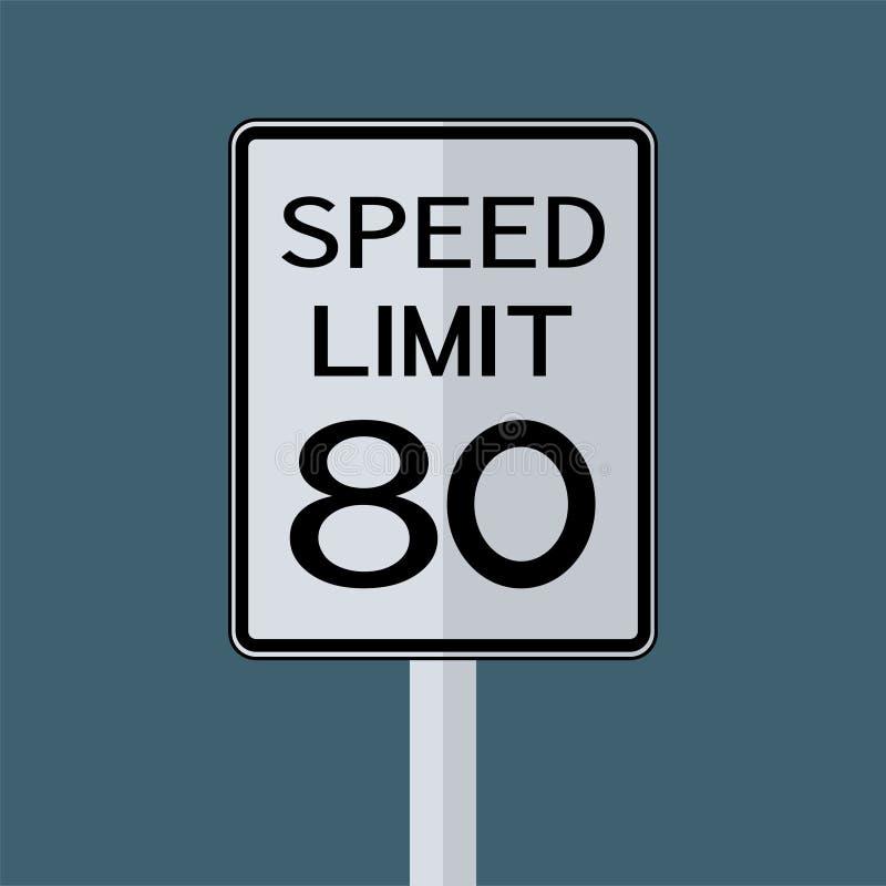 Sinal do transporte do tráfego rodoviário dos EUA: Limite de velocidade 80 no fundo branco, ilustração do vetor ilustração stock