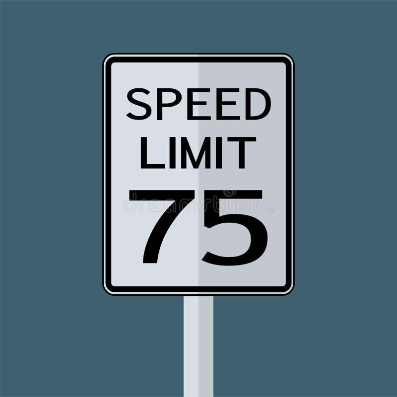 Sinal do transporte do tráfego rodoviário dos EUA: Limite de velocidade 75 no fundo branco, ilustração do vetor ilustração royalty free