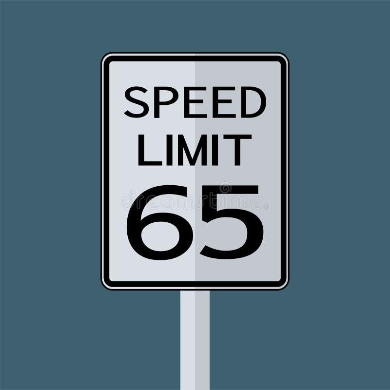 Sinal do transporte do tráfego rodoviário dos EUA: Limite de velocidade 65 no fundo branco, ilustração do vetor ilustração royalty free