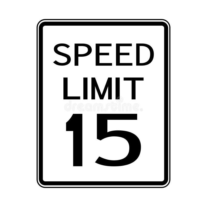 Sinal do transporte do tráfego rodoviário dos EUA: Limite de velocidade 15 no fundo branco ilustração royalty free