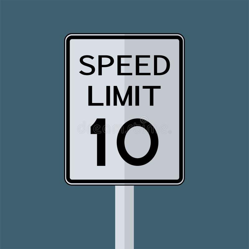 Sinal do transporte do tráfego rodoviário dos EUA: Limite de velocidade 10 no fundo cinzento do céu Ilustra??o do vetor ilustração stock