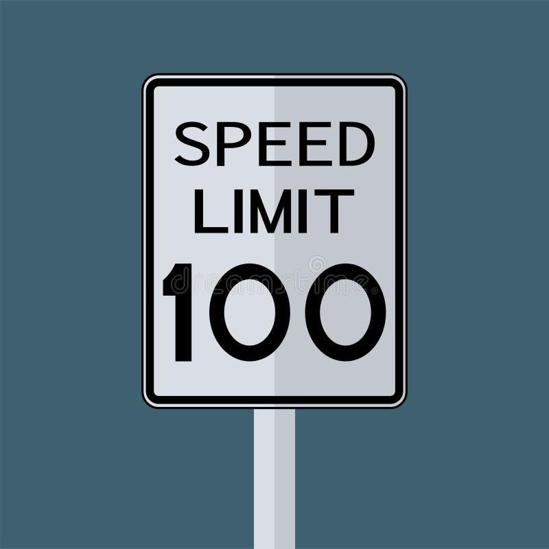 Sinal do transporte do tr?fego rodovi?rio dos EUA: Limite de velocidade 100 no fundo branco, ilustra??o do vetor ilustração royalty free