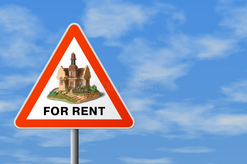 Sinal do triângulo com casa (para o aluguel) imagens de stock royalty free