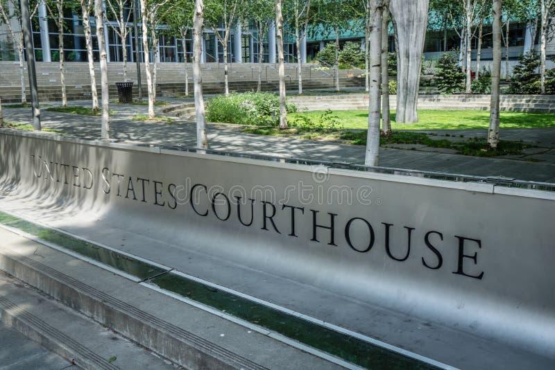 Sinal do tribunal do Estados Unidos imagens de stock