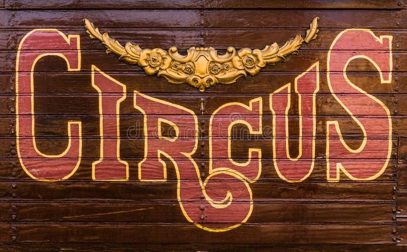 Sinal do vagão de circo imagem de stock royalty free