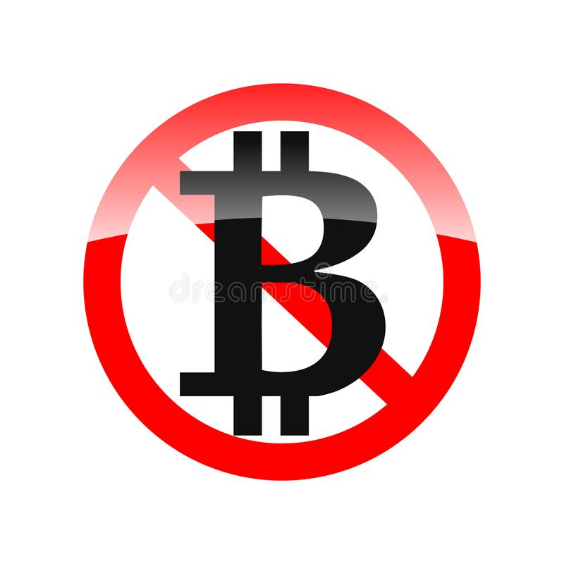 Sinal do vetor - bitcoin proibiu - proibido para usar-se - rotule B ilustração royalty free