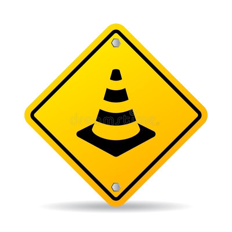 Sinal do vetor do cone da segurança rodoviária ilustração stock