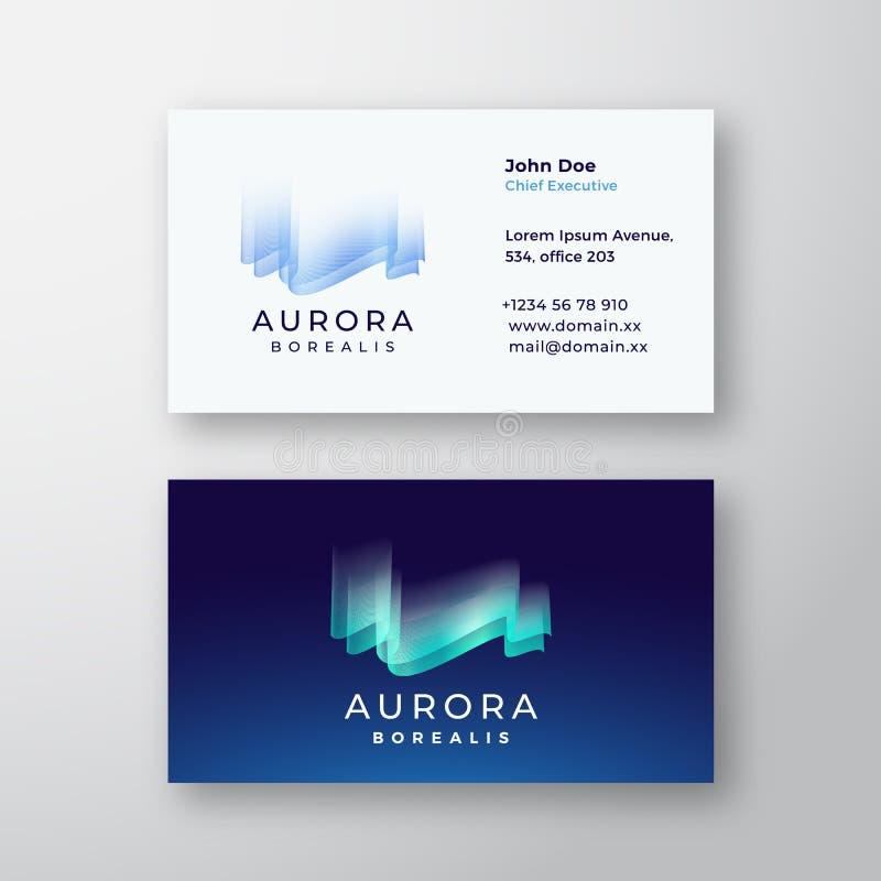 Sinal do vetor de Aurora Borealis Northern Lights Abstract ou logotipo e molde do cartão Real?stico estacion?rio superior ilustração royalty free