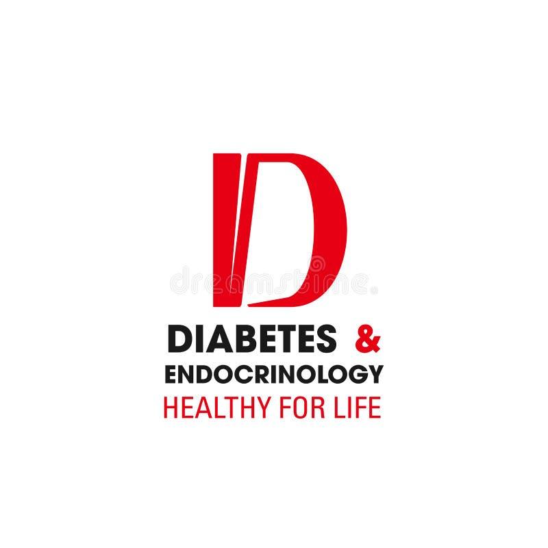 Sinal do vetor do diabetes e do endocinology ilustração royalty free