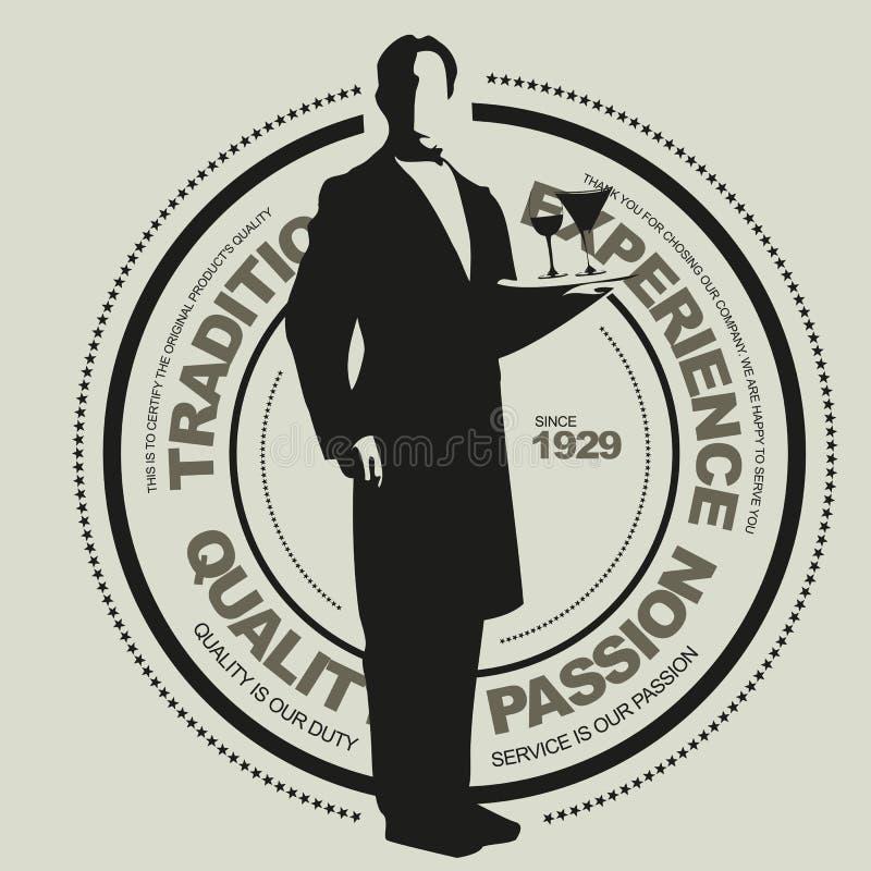 Sinal do vetor do serviço do restaurante ilustração royalty free