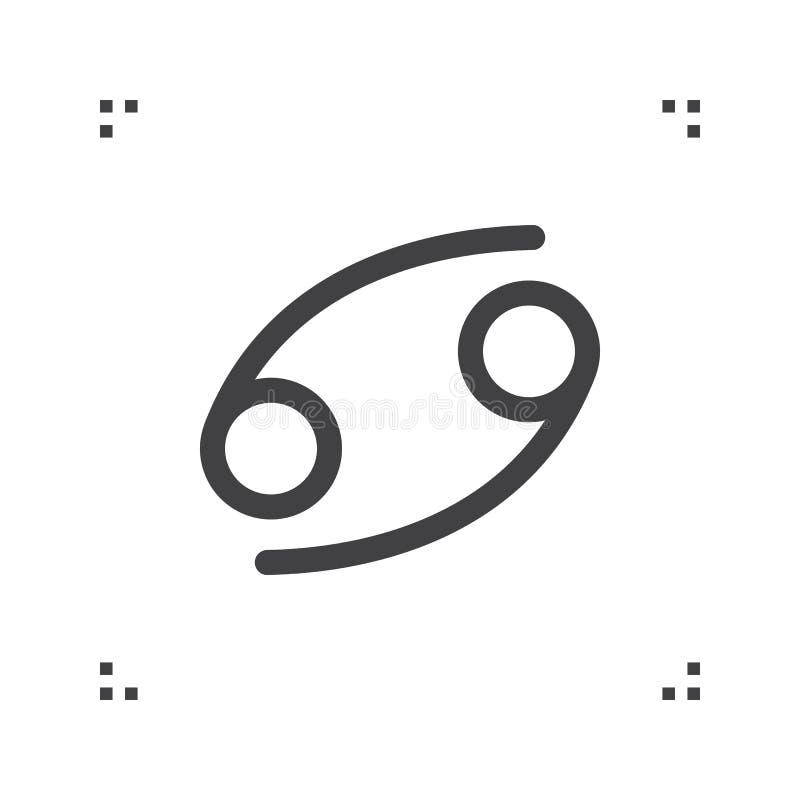 Sinal do vetor do zodíaco do câncer, símbolo do horóscopo, linha ícone da astrologia ilustração stock