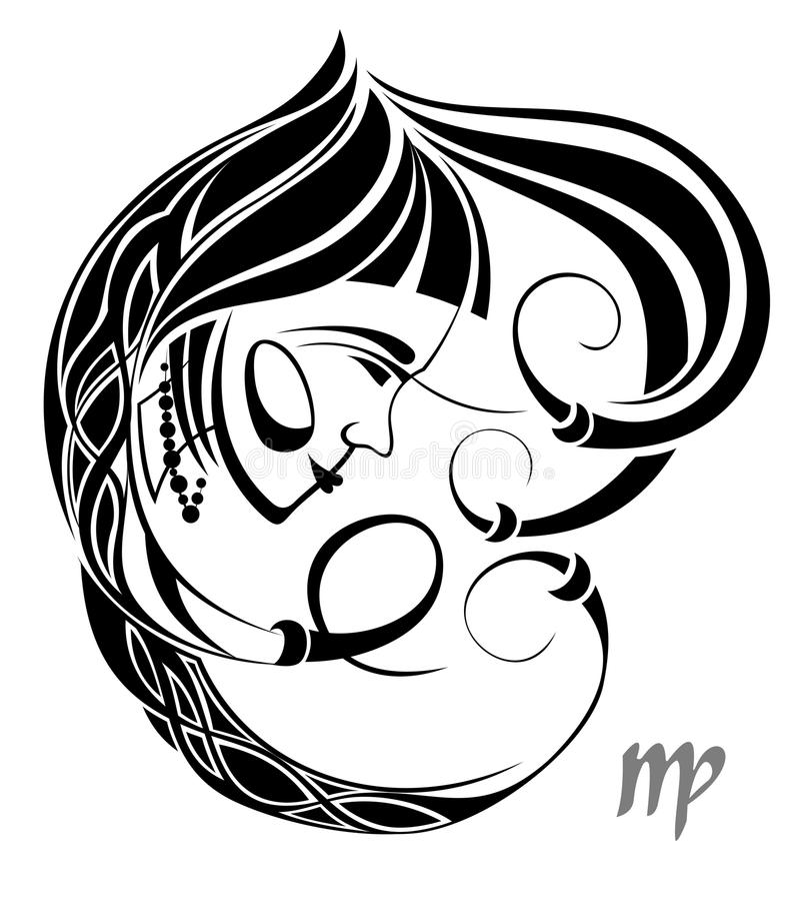 Sinal do vetor do zodíaco do Virgo. Projeto do tatuagem ilustração do vetor