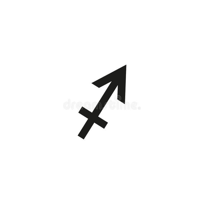 Sinal do vetor do zodíaco do Sagitário, linha ícone da astrologia, ilustração linear do logotipo isolada no fundo branco ilustração royalty free