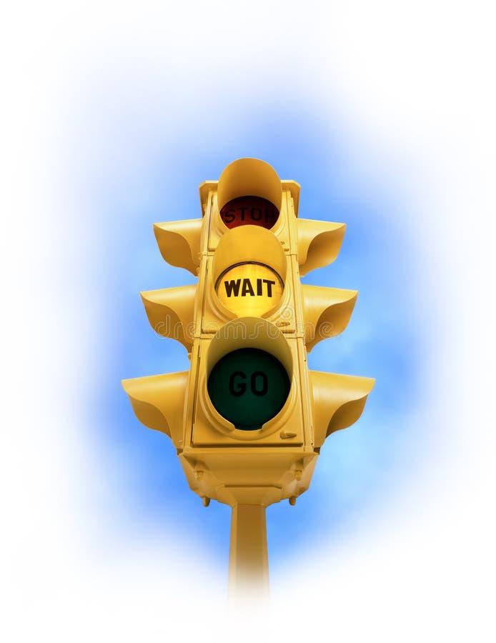 Sinal do vintage com luz amarela da ESPERA na vinheta branca foto de stock royalty free