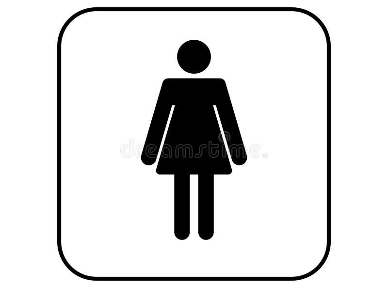 Sinal do wc das mulheres, ícone do toalete da mulher fotografia de stock