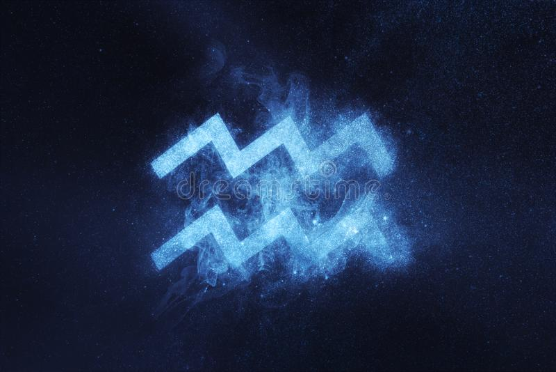 Sinal do zodíaco do Aquário Fundo abstrato do céu noturno imagens de stock