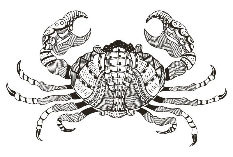 Sinal do zodíaco - câncer Ilustração do vetor Caranguejo Estiletes de Zentangle ilustração stock