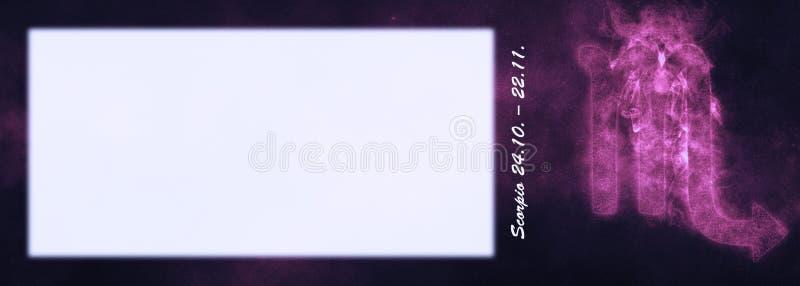 Sinal do zodíaco da Escorpião Sinal do horóscopo da Escorpião Sala do texto do molde imagens de stock