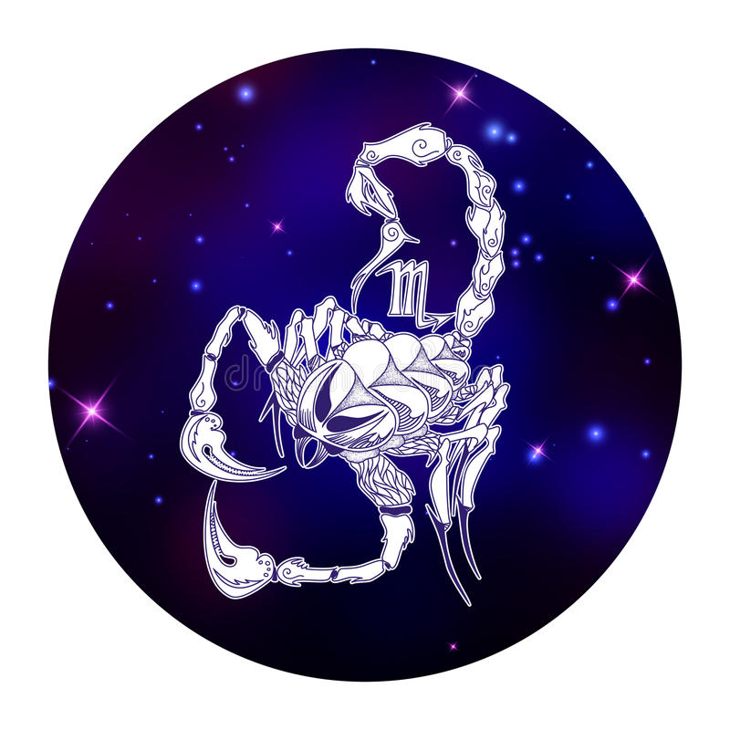 Sinal do zodíaco da Escorpião, símbolo do horóscopo, ilustração do vetor ilustração stock